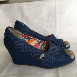 TOMS Wedges Blue Fabric Shoes